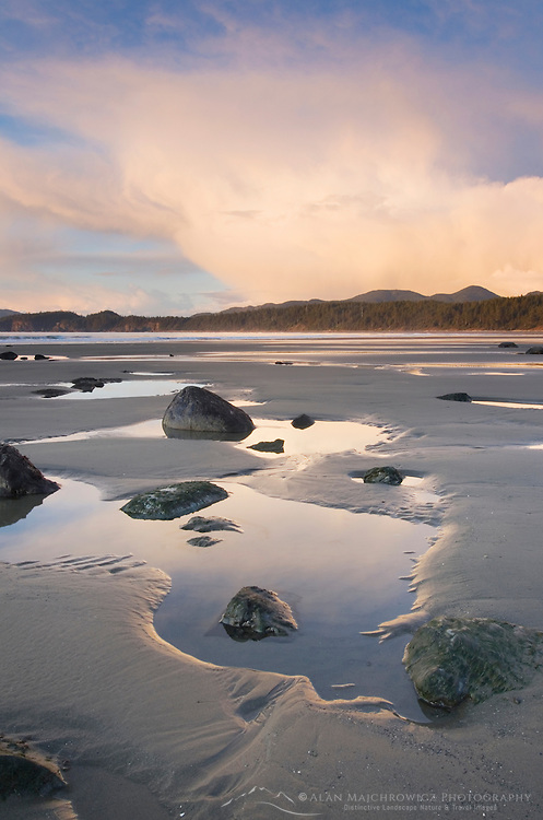 Sunset on Shi Shi Beach at low tide, Olympic National Park Washington