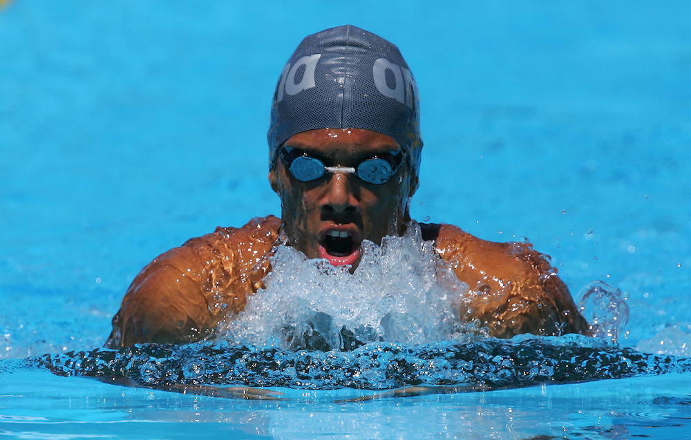 Panama's Johnny Castillo swims during the men's 100m Breastsstroke preliminary heat at the FINA World Championships in Montreal, Canada Sunday 24 July, 2005.