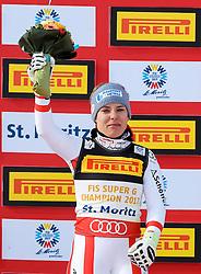 07.02.2017, St. Moritz, SUI, FIS Weltmeisterschaften Ski Alpin, St. Moritz 2017, Super G, Damen, Flower Zeremonie, im Bild Nicole Schmidhofer (AUT, Weltmeisterin) // World Champion Nicole Schmidhofer of Austria during the Flowers ceremony for the ladie's SuperG of FIS Ski Alpine World Cup. St. Moritz, Switzerland on 2017/02/07. EXPA Pictures © 2017, PhotoCredit: EXPA/ SM<br /> <br /> *****ATTENTION - OUT of GER*****