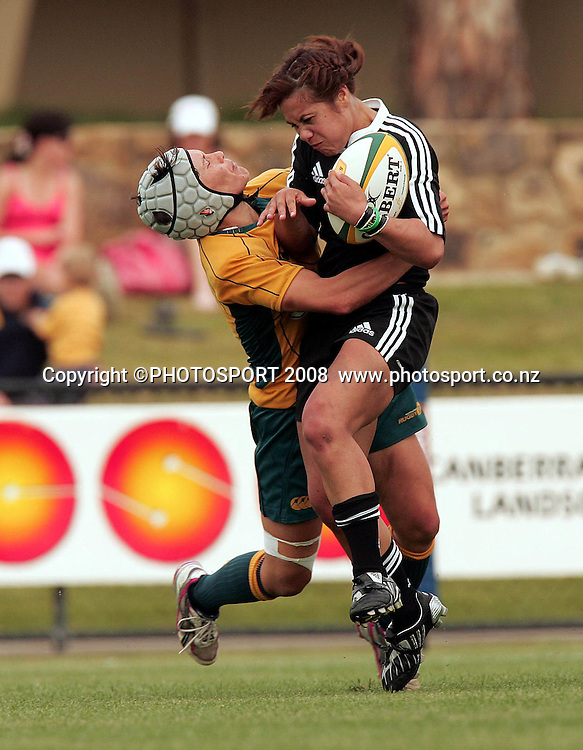Huriana Manuel tackled by Tui Ormsby. Australia Wallaroos v New Zealand Black Ferns. Womens Test Match rugby. Viking Park, Canberra, Australia. Saturday 18 October 2008. Photo: Paul Seiser/PHOTOSPORT