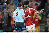 15 June 2013; Tom Croft, British & Irish Lions, is shouldered by Paddy Ryan, NSW Waratahs, after scoring his side's fourth try. British & Irish Lions Tour 2013, NSW Waratahs v British & Irish Lions, Allianz Stadium, Sydney, NSW, Australia. Picture credit: Stephen McCarthy / SPORTSFILE