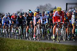 Noyon, France - Paris-Roubaix - April 7, 2013 - Peloton following the first group