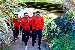 DUBLIN, REPUBLIC OF IRELAND - Friday, March 24, 2017: Wales' Neil Taylor and Hal Robson-Kanu during a pre-match team walk around Portmarnock Hotel And Golf Links ahead of the 2018 FIFA World Cup Qualifying Group D match against Republic of Ireland. (Pic by David Rawcliffe/Propaganda)