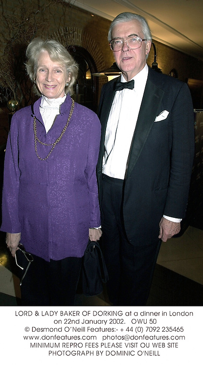 LORD & LADY BAKER OF DORKING at a dinner in London on 22nd January 2002.<br />OWU 50