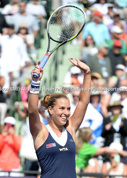 March 26rd, 2014:   Dominika Cibulkova  celebrates after her victory on  the Women's single Quaterfinal match agains Agnieszka Radwanska at the Sony Open in Crandon Park, Florida
