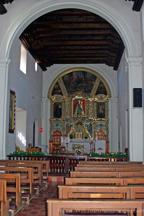 Americas, Mexico, Baja California Sur, Loreto. Interior of the Jesuit Mission of Our Lady of Loreto, the oldest and first of the California missions, established 1697.