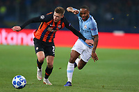 KHARKOV, UKRAINE - OCTOBER 23: Raheem Sterling of Manchester City battles for the ball with Mykola Matviyenko of Shakhtar Donetsk  during the Group F match of the UEFA Champions League between FC Shakhtar Donetsk and Manchester City at Metalist Stadium on October 23, 2018 in Kharkov, Ukraine. (Photo by MB Media/Getty Images)