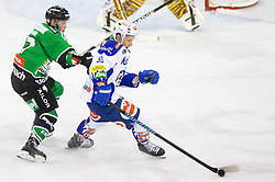 26.09.2014, Hala Tivoli, Ljubljana, SLO, EBEL, HDD Telemach Olimpija Ljubljana vs EC VSV, 5. Runde, in picture Miha Logar (HDD Telemach Olimpija, #17) vs Patrick Platzer (EC VSV, #39) during the Erste Bank Icehockey League 3. Round between HDD Telemach Olimpija Ljubljana and EC VSV at the Hala Tivoli, Ljubljana, Slovenia on 2014/09/26. Photo by Matic Klansek Velej / Sportida