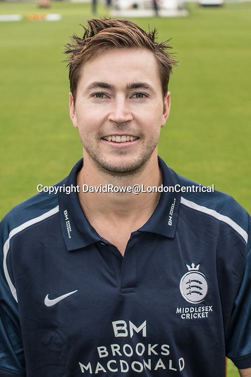 11 April 2018, London, UK.  James Fuller of Middlesex County Cricket Club in the   blue Royal London one-day kit . David Rowe/ Alamy Live News