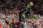 Sunderland Goalkeeper Costel Pantilimon catches a corner  during the Barclays Premier League match between Sunderland and Tottenham Hotspur at the Stadium Of Light, Sunderland, England on 13 September 2015. Photo by Simon Davies.