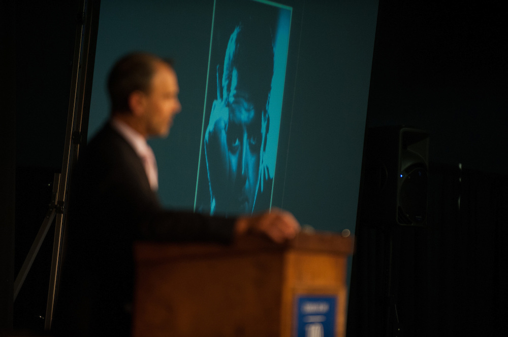 Author Scott Turow speaks to a crowd during his lecture as part of Gonzaga Law School's 100th Anniversary celebration.<br /> <br /> Photo by Rajah Bose