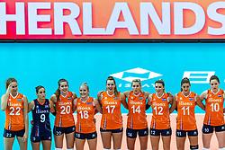 07-10-2018 JPN: World Championship Volleyball Women day 8, Nagoya<br /> Netherlands - Puerto Rico 3-0 / Nicole Koolhaas #22 of Netherlands, Myrthe Schoot #9 of Netherlands, Tessa Polder #20 of Netherlands, Marrit Jasper #18 of Netherlands, Nicole Oude Luttikhuis #17 of Netherlands, Laura Dijkema #14 of Netherlands, Britt Bongaerts #12 of Netherlands, Anne Buijs #11 of Netherlands, Lonneke Sloetjes #10 of Netherlands