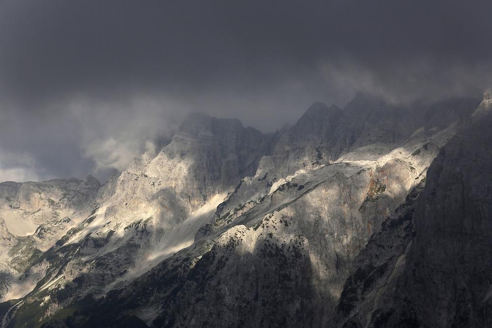 View from Qafa e Valbones pass, 1805m, between Valbona and Theth valleys, Albania.