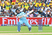 Eoin Morgan of England avoids a bouncer from Pat Cummins of Australia during the ICC Cricket World Cup 2019 semi final match between Australia and England at Edgbaston, Birmingham, United Kingdom on 11 July 2019.