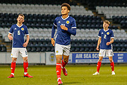 Thomas Dickson-Peters (Norwich City) fires over the bar from a free kick, with Ciaran Dickson (Rangers FC) & Cameron Logan (Heat of Midlothian) showing just how close it was during the U17 European Championships match between Portugal and Scotland at Simple Digital Arena, Paisley, Scotland on 20 March 2019.