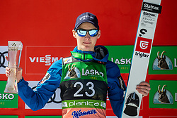 Second placed Domen Prevc (SLO) celebrates at trophy ceremony after the Ski Flying Hill Individual Competition at Day 4 of FIS Ski Jumping World Cup Final 2019, on March 24, 2019 in Planica, Slovenia. Photo by Vid Ponikvar / Sportida