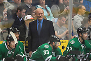 DALLAS, TX - OCTOBER 17:  Head coach Lindy Ruff of the Dallas Stars smiles against the San Jose Sharks on October 17, 2013 at the American Airlines Center in Dallas, Texas.  (Photo by Cooper Neill/Getty Images) *** Local Caption *** Lindy Ruff