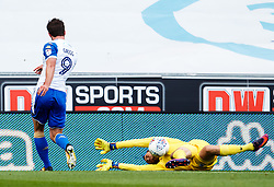 Will Grigg of Wigan Athletic has a shot saved by Sam Slocombe of Bristol Rovers - Mandatory by-line: Matt McNulty/JMP - 16/09/2017 - FOOTBALL - DW Stadium - Wigan, England - Wigan Athletic v Bristol Rovers - Sky Bet League One