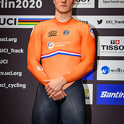 HOOGLAND Jeffrey ( NED ) - Netherlands – Second Place - Award Ceremony - Medal Ceremony - Podium - Hochformat - hoch - vertikal - Portrait - Event/Veranstaltung: UCI Track Cycling World Championships 2020 – Track Cycling - World Championships - Berlin - Category/Kategorie: Cycling - Track Cycling – World Championships - Elite Men - Location/Ort: Europe – Germany - Berlin - Velodrom Berlin - Discipline: Sprint - Distance: ... m - Date/Datum: 01.03.2020 – Sunday – Day 5 - Photographer: © Arne Mill - frontalvision.com