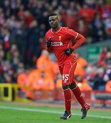LIVERPOOL, ENGLAND - Sunday, March 8, 2015: Liverpool's substitute Mario Balotelli prepares to come on against Blackburn Rovers during the FA Cup 6th Round Quarter-Final match at Anfield. (Pic by David Rawcliffe/Propaganda)