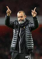 Football - 2019 / 2020 Premier League - Arsenal vs. Wolverhampton Wanderers<br /> <br /> Nuno Esoirito Santo, Manager of Wolverhampton Wanderers, knows the final score at The Emirates Stadium.<br /> <br /> COLORSPORT/DANIEL BEARHAM