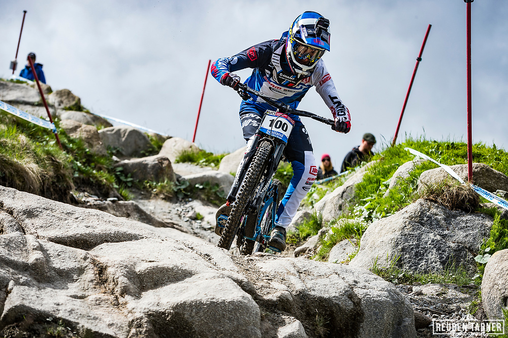 Jacob Dickson during Sunday practise at the UCI Mountain Bike World Cup in Fort William.