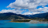 PUERTO RIO TRANQUILO, CHILE - CIRCA FEBRUARY 2019: Panoramic view of Lake General Carrera close to Puerto Rio Tranquilo in Chile.