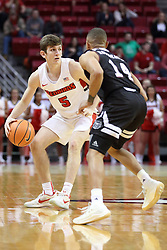 07 January 2018:  Matt Hein works the perimeter against Ronnie Rousseau III during a College mens basketball game between the Missouri State Bears and Illinois State Redbirds in Redbird Arena, Normal IL