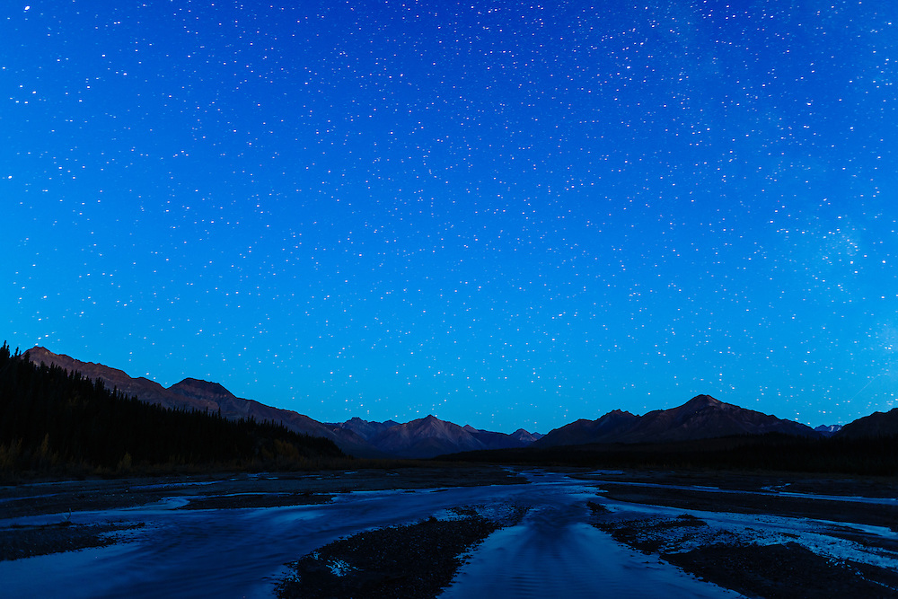 Milky Way above the Alaska Range along the Teklanika River in Denali National Park in Interior Alaska. Autumn. Evening.