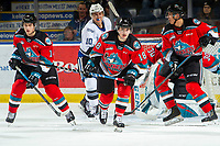 KELOWNA, BC - NOVEMBER 20:  Elias Carmichael #14, Devin Steffler #4 and Kyle Crosbie #18 of the Kelowna Rockets defend the zone against the Victoria Royals at Prospera Place on November 20, 2019 in Kelowna, Canada. (Photo by Marissa Baecker/Shoot the Breeze)