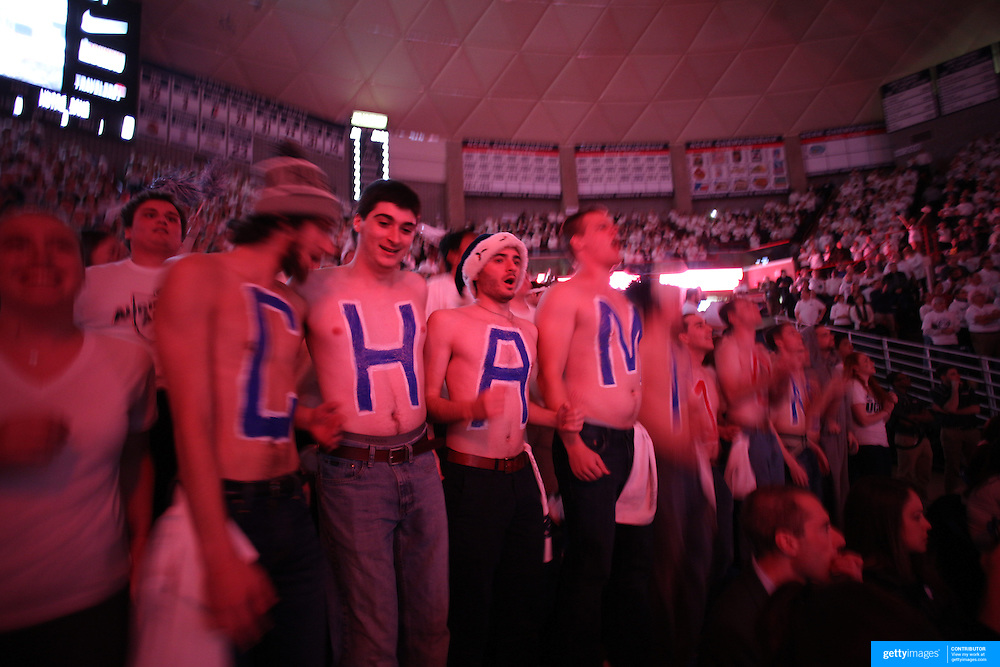UConn fans in action during the Notre Dame Vs UConn Women's Basketball game at Grampel Pavilion, Storrs, Connecticut, USA. 5th December 2015. Photo Tim Clayton
