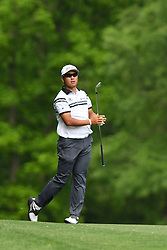 May 3, 2019 - Charlotte, NC, U.S. - CHARLOTTE, NC - MAY 03: Hideki Matsuyama follows his approach shot on the 11th fairway in round two of the Wells Fargo Championship on May 03, 2019 at Quail Hollow Club in Charlotte,NC. (Photo by Dannie Walls/Icon Sportswire) (Credit Image: © Dannie Walls/Icon SMI via ZUMA Press)