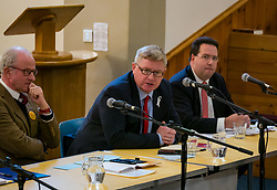 North Berwick, East Lothian, Scotland, United Kingdom, 28 November 2019. General Election: First hustings for the 5 candidates seeking election as MP for East Lothian with questions from the audience ranging from Defence to Honesty. Pictured (L to R): Robert O'Riordan, Scottish Liberal Democrats candidate, sitting MP Martin Whitfield, Scottish Labour Party candidate, Haddington and Lammermuir ward councillor Craig Hoy, Scottish Conservative & Unionist Party candidate<br /> Sally Anderson   EdinburghElitemedia.co.uk