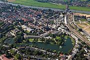 Nederland, Gelderland, Zutphen, 06-09-2010; overzicht van de binnenstad met oud bolwerk, rechts het station, boven in beeld de IJssel (IJsselkade) met spoorbrug..Overview of the town with old stronghold, the station to the right, river IJssel (IJsselkade) with railway bridge..luchtfoto (toeslag), aerial photo (additional fee required).foto/photo Siebe Swart