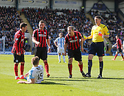 St Johnstone&rsquo;s Frazer Wright rages at Greg Stewart after the Dundee striker had taken the tumble that led to a second booking and a red card from referee Craig Thomson - Dundee v St Johnstone, SPFL Premiership at Dens Park <br /> <br />  - &copy; David Young - www.davidyoungphoto.co.uk - email: davidyoungphoto@gmail.com