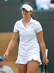 LONDON, ENGLAND - Monday, July 1, 2013: Laura Robson (GBR) looks dejected as she loses the first set during the Ladies' Singles 4th Round match on day seven of the Wimbledon Lawn Tennis Championships at the All England Lawn Tennis and Croquet Club. (Pic by David Rawcliffe/Propaganda)
