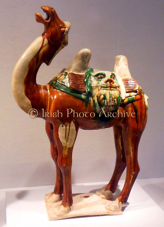 Chinese glazed earthenware figure of a Camel. Tang dynasty (618–907)Tomb Pottery