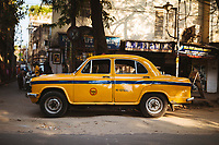 An iconic Ambassador Taxi on the streets of old Kolkata.