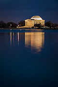 Jefferson Memorial reflecting in the Tidal Basin, Washington, DC.