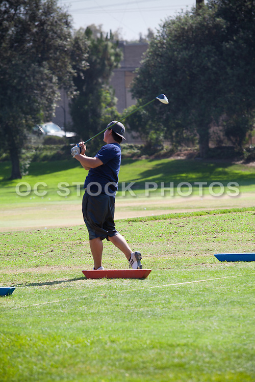 Golfer at the Driving Range at Cerritos Iron-Wood Golf Course