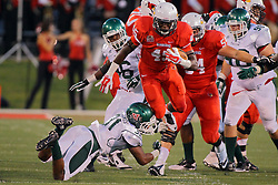 06 Sep 2014: James Graham leaps to avoid Le'Trey Jones during a non-conference NCAA football game between the Delta Devils of Mississippi Valley State and the Redbirds of Illinois State at Hancock Stadium in Normal Il