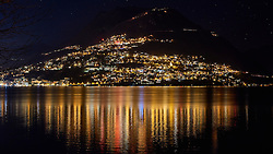 Monte Bre by night, photo taken from Paradiso Lugano, Ticino