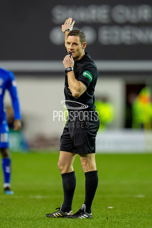 Referee Steven McLean during the Ladbrokes Scottish Premiership match between Hibernian and Rangers at Easter Road, Edinburgh, Scotland on 8 March 2019.