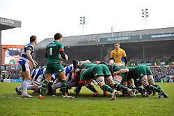 A general view of a scrum in the first half - Photo mandatory by-line: Patrick Khachfe/JMP - Mobile: 07966 386802 04/01/2015 - SPORT - RUGBY UNION - Leicester - Welford Road - Leicester Tigers v Bath Rugby - Aviva Premiership