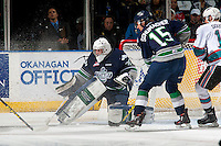 KELOWNA, CANADA - APRIL 23: Landon Bow #30 of Seattle Thunderbirds makes a save against the Kelowna Rockets on April 23, 2016 at Prospera Place in Kelowna, British Columbia, Canada.  (Photo by Marissa Baecker/Shoot the Breeze)  *** Local Caption *** Landon Bow;