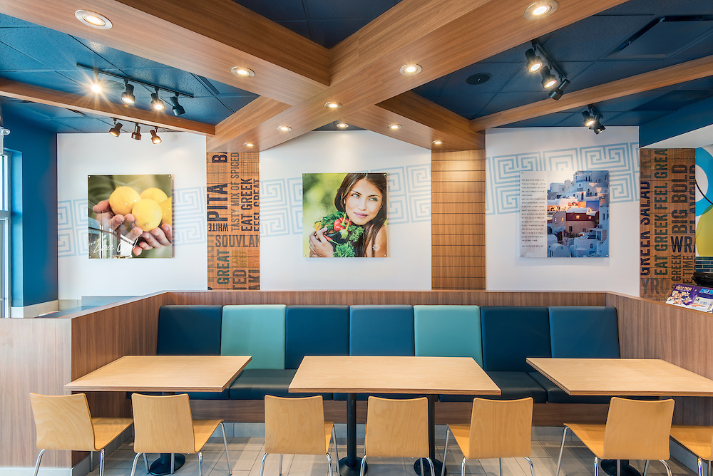Interior and exterior photography of the new urban look at OPA! restaurants.