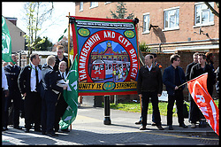 Union Members turn for The funeral of the former general secretary of the RMT union Bob Crow in Woodford Green, North East, London, United Kingdom. Monday, 24th March 2014. Picture by Andrew Parsons / i-Images