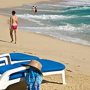 Chaisse lounge on the beach. Cabo San Lucas, BCS.Mexico.