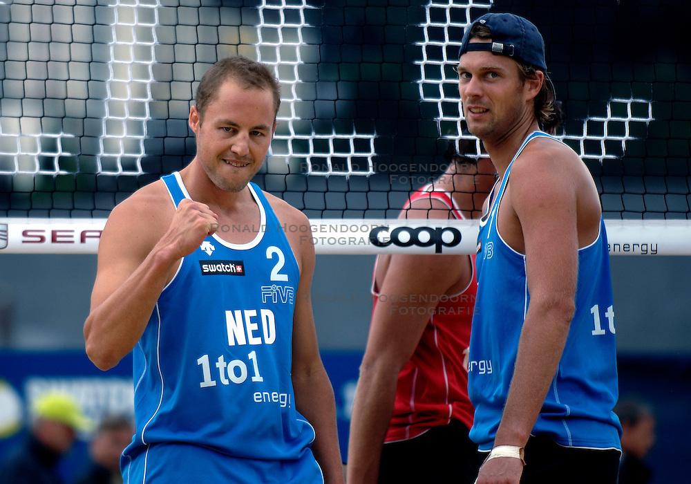 24-07-2007 VOLLEYBAL: WK BEACHVOLLEYBAL: GSTAAD<br /> Jochem de Gruijter en Gijs Ronnes - emotie vreugde beachvolley<br /> &copy;2007-WWW.FOTOHOOGENDOORN.NL