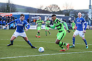Forest Green Rovers Keanu Marsh-Brown(7) runs forward during the FA Trophy match between Macclesfield Town and Forest Green Rovers at Moss Rose, Macclesfield, United Kingdom on 4 February 2017. Photo by Shane Healey.